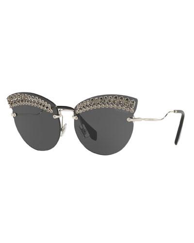 Crystal Trim Rimless Cat-Eye Sunglasses