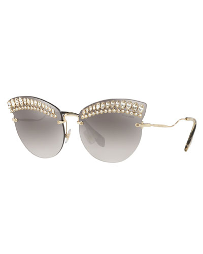 Crystal Trim Rimless Cat-Eye Sunglasses