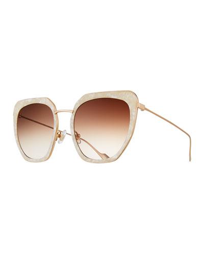 Silvia Marbled Acetate & Metal Square Sunglasses