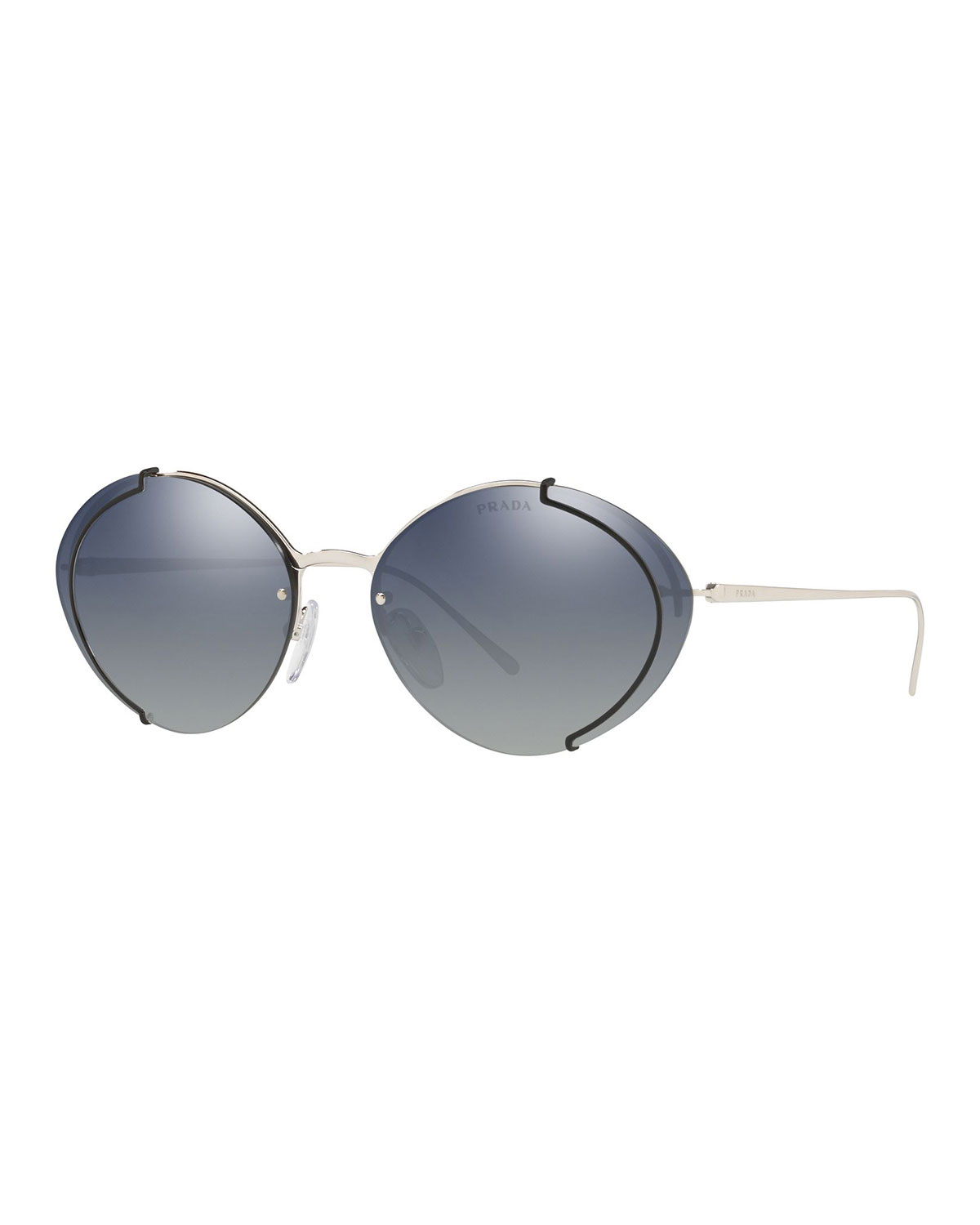 740e96606 Prada Semi-Rimless Mirrored Oval Sunglasses, Silver/Black | ModeSens
