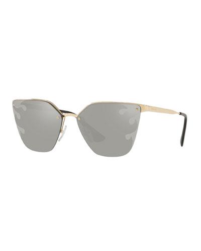 Semi-Rimless Mirrored Cat-Eye Sunglasses