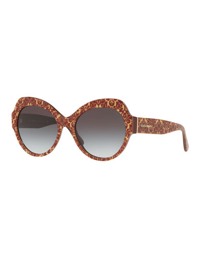Damask Printed Acetate Cat-Eye Sunglasses
