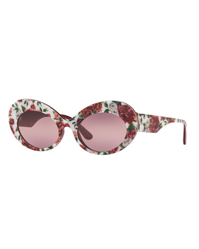 Floral Print Acetate Oval Sunglasses