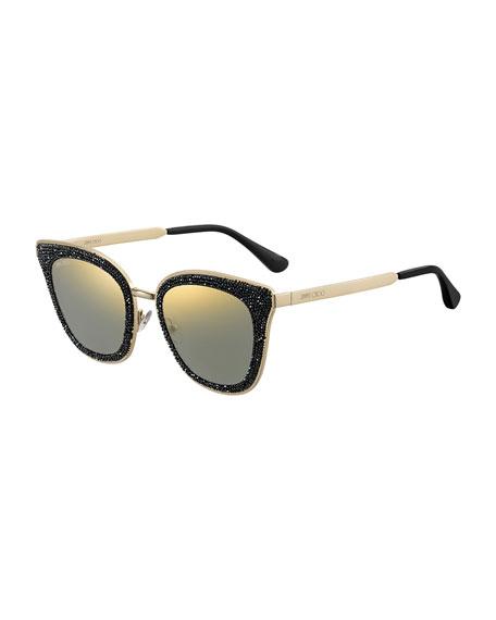 Jimmy Choo Lizzys Glittered Mirrored Cat-Eye Sunglasses