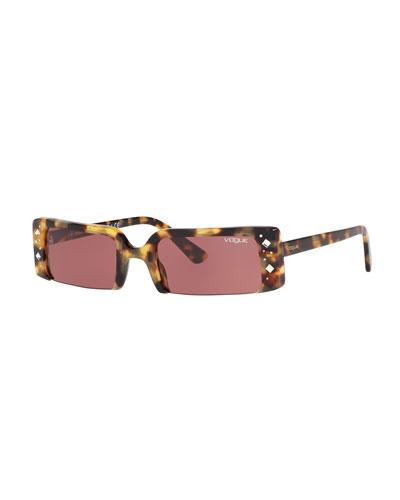 Semi-Rimless Rectangular Studded Sunglasses