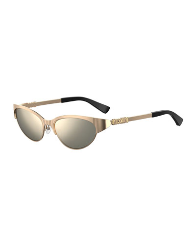 Oval Mirrored Metal Sunglasses w/ Logo Detail