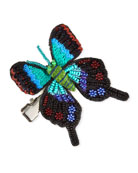 Mignonne Gavigan Embroidery Beaded Butterfly Hair Clip