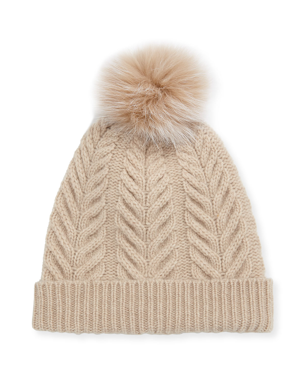 Sofia Cashmere Hats STAGHORN CABLE KNIT HAT W/ FUR POMPOM, BEIGE