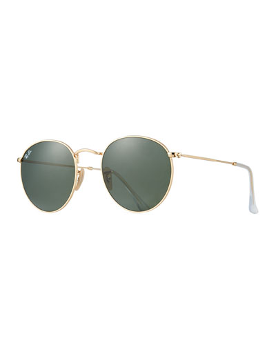 Round Monochromatic Metal Sunglasses