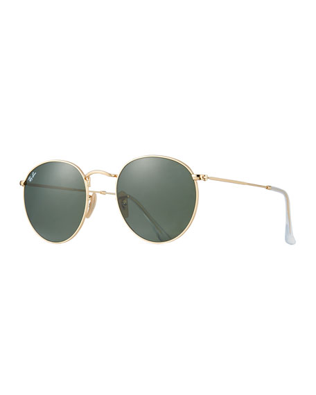 Ray-Ban Round Monochromatic Metal Sunglasses