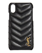 Saint Laurent iPhone XS Quilted Leather Phone Case