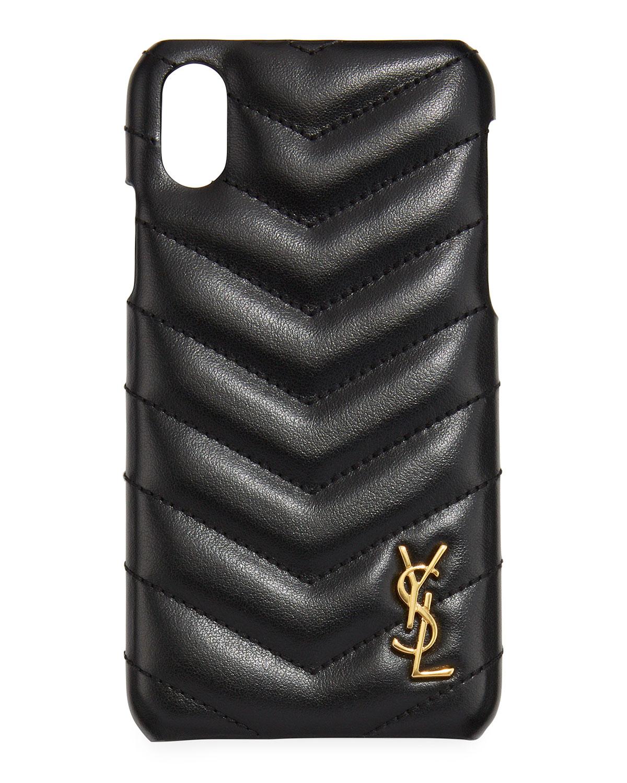 d24231c8f Saint Laurent iPhone XS Quilted Leather Phone Case