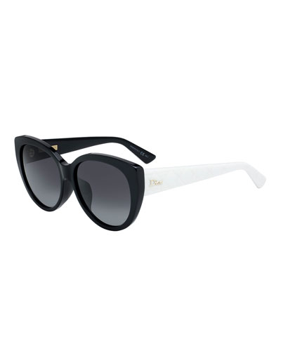 Lady1NFS Two-Tone Acetate Round Sunglasses