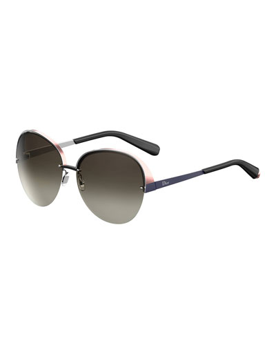 Superb Semi-Rimless Round Titanium Sunglasses