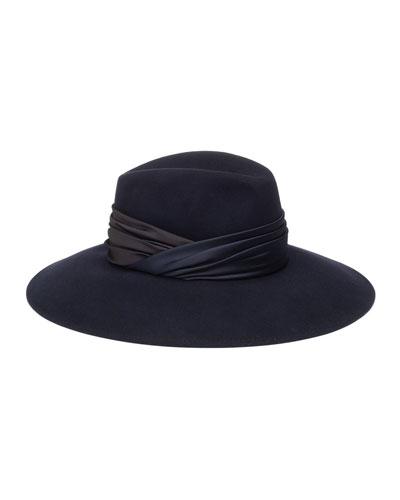 Emmanuelle Wool Fedora Hat w/ Ruched Hat Band