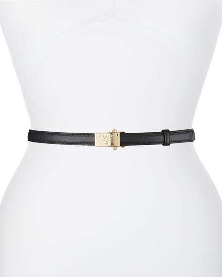 Prada Clip-On Buckle Leather Belt