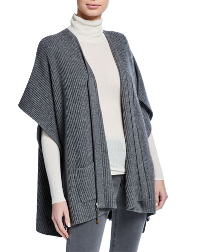 Zip-Front Ribbed Cashmere Poncho