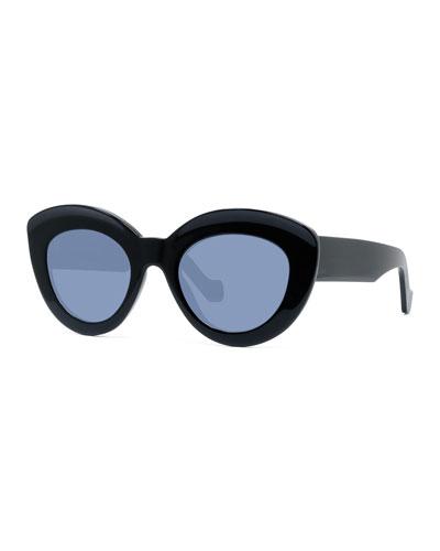 Chunky Shiny Acetate Cat-Eye Sunglasses