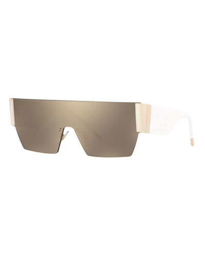 Rimless Mirrored Shield Sunglasses