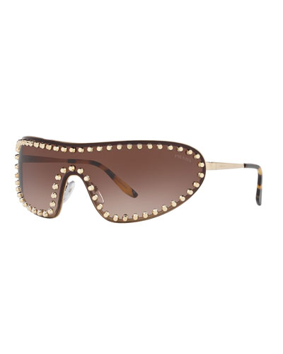 Studded Metal Shield Sunglasses