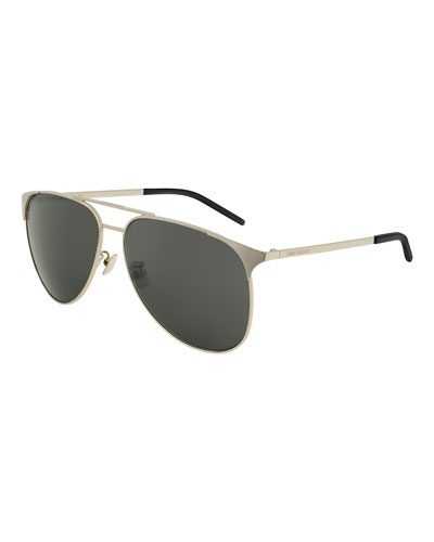 Monochromatic Metal Rectangle Sunglasses