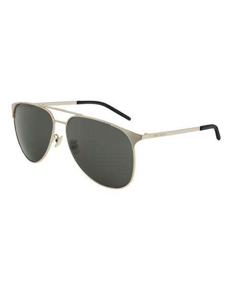 Saint Laurent Monochromatic Metal Rectangle Sunglasses