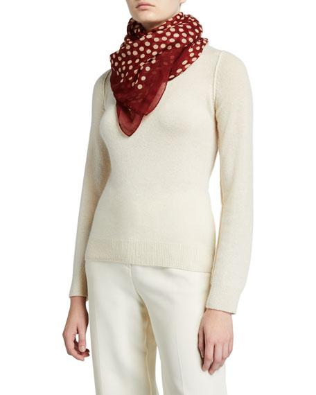 Saint Laurent Dot Print Wool Scarf