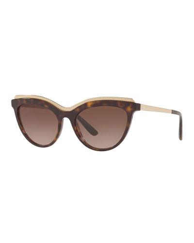 Acetate Cat-Eye Sunglasses w/ Metal Ridged Trim