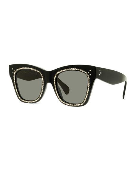 Celine Studded Rectangle Acetate Sunglasses