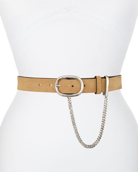 Rag & Bone Wingman Suede Belt with Chain
