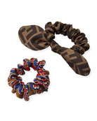 Fendi FF Print & Grille Royal Silk Scrunchie