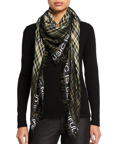 Scotty Metallic Plaid Message Border Scarf