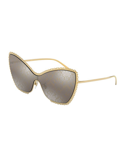 Damask Print Cat-Eye Shield Sunglasses