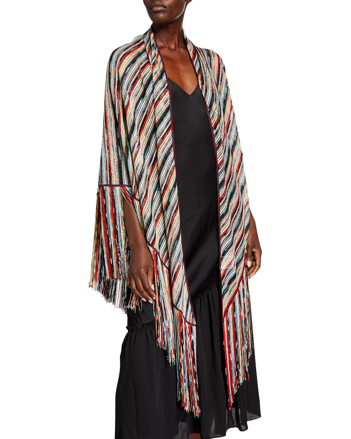 Missoni Rings MULTICOLOR STRIPED WRAP WITH FRINGE
