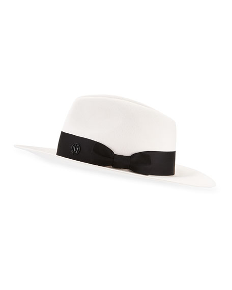 Maison Michel Rico Rabbit Felt Fedora Hat w/ Satin Band