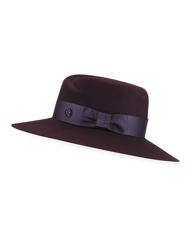 Maison Michel Hats VIRGINIE RABBIT FELT FEDORA HAT W/ SATIN BAND