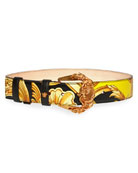 Versace Barocco Print Leather Belt
