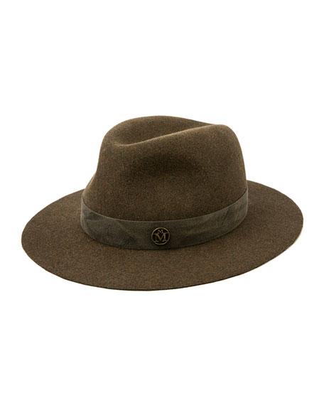 Maison Michel Derek Distressed Rabbit Felt Fedora Hat