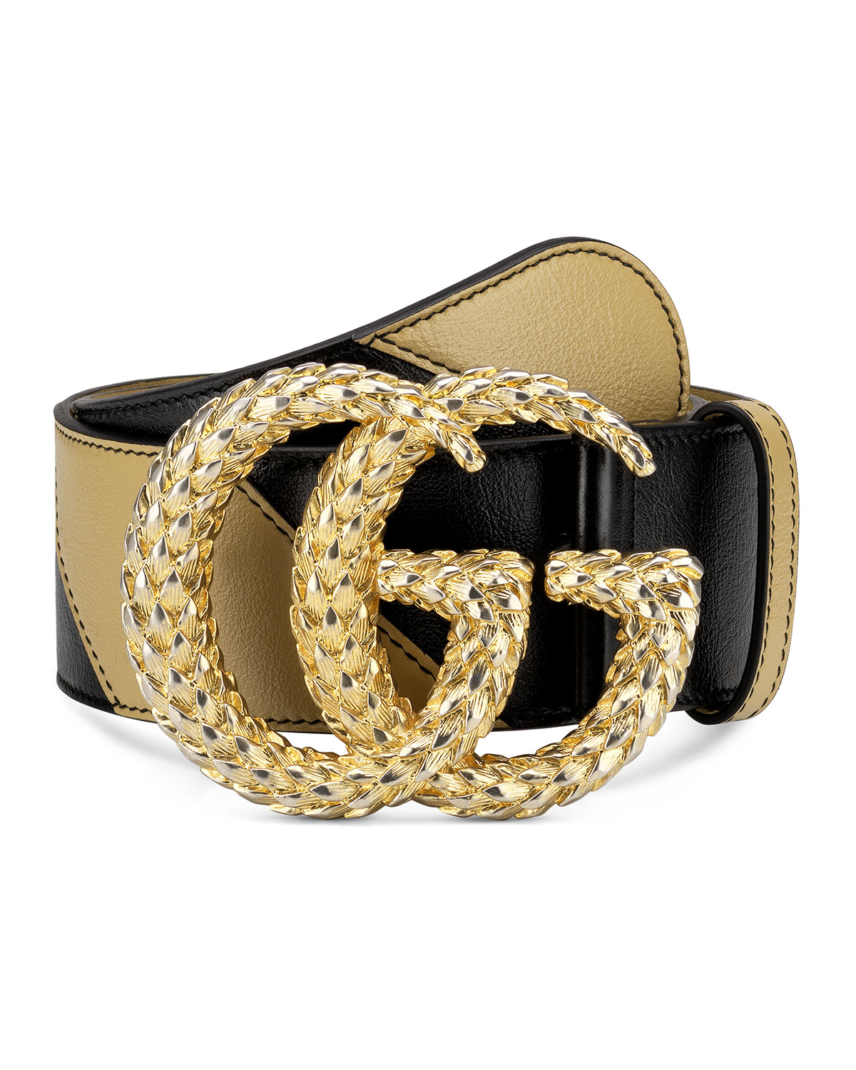 Gucci Belts TWO-TONE DIAGONAL QUILTED LEATHER BELT W/ TEXTURED DOUBLE G BUCKLE