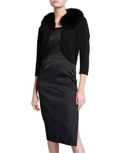 Cashmere Shrug with Fur Collar