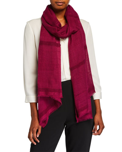 Cashmere Two-Tone Open-Weave Scarf