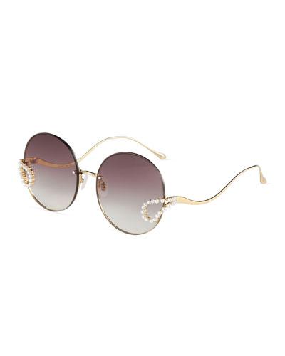 Rimless Round Sunglasses w/ Faux Pearl Trim