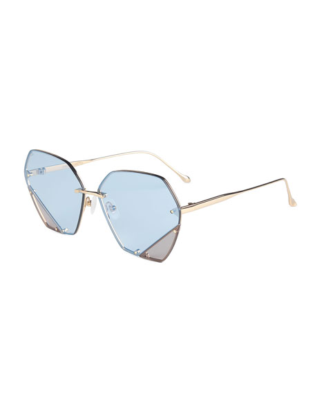 For Art's Sake Rimless Two-Tone Square Sunglasses