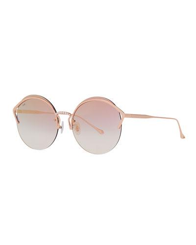 Semi-Rimless Round Sunglasses w/ Faux Pearl Trim