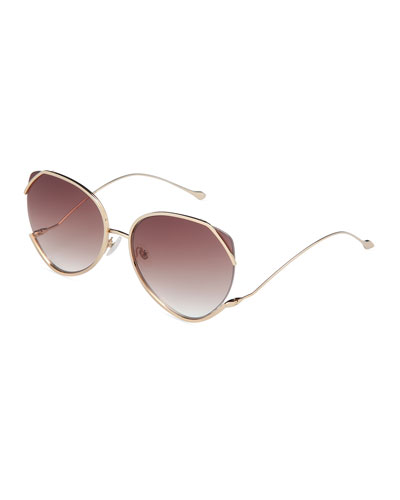 Semi-Rimless Square Sunglasses