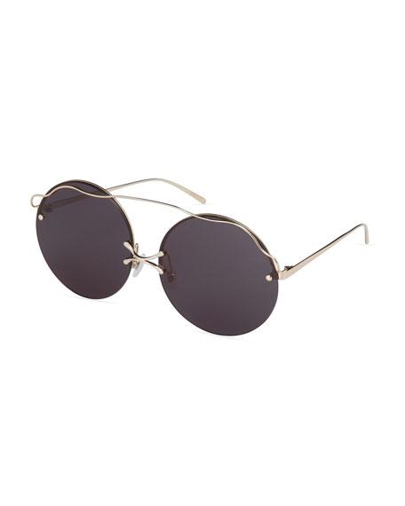 For Art's Sake Rimless Round Sunglasses