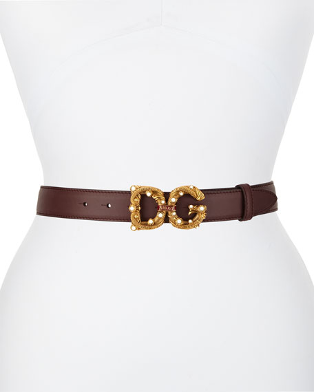 Dolce & Gabbana Vintage Queen DG Amore Leather Belt