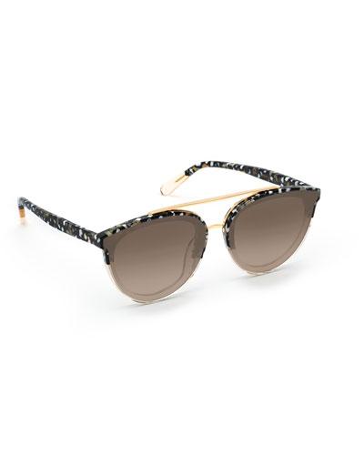 Clio Acetate & Metal Square Sunglasses