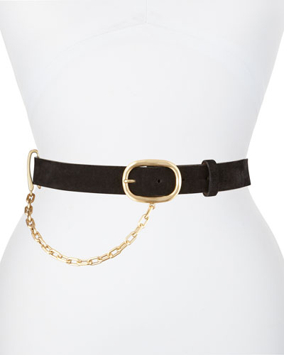 Wingman Suede Belt with Chain