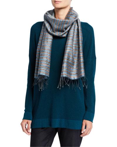 Striped Handloom Silk Slub Wool Scarf